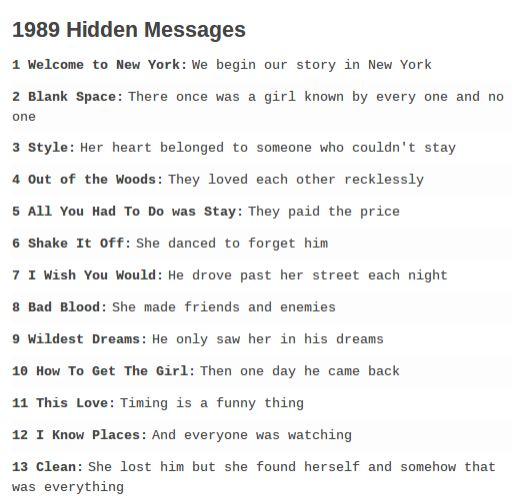 THE HIDDEN MESSAGES TO 1989 TELL A STORY THIS IS GENIUS