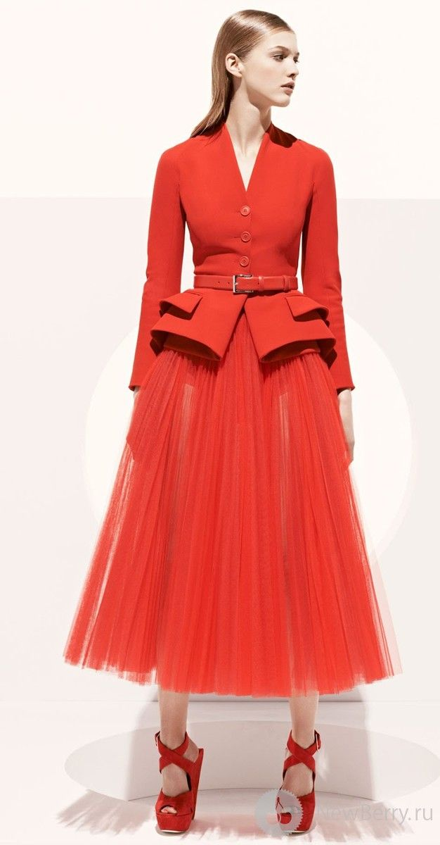 Christian Dior 2013 - Classic Dior Silhouette. Red, check. Structured, check. Simple, check.  Check, check.