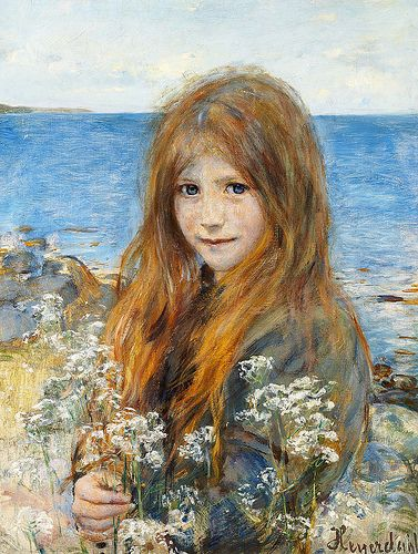 "Hans Olaf Heyerdahl  (Swedish, 1857-1913), ""Little girl on the beach"""