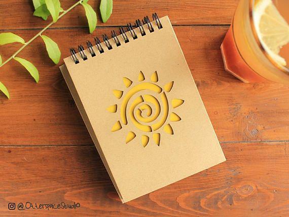 Sun Notebook  Voyage Spiral Notepad  Travel Hardcover