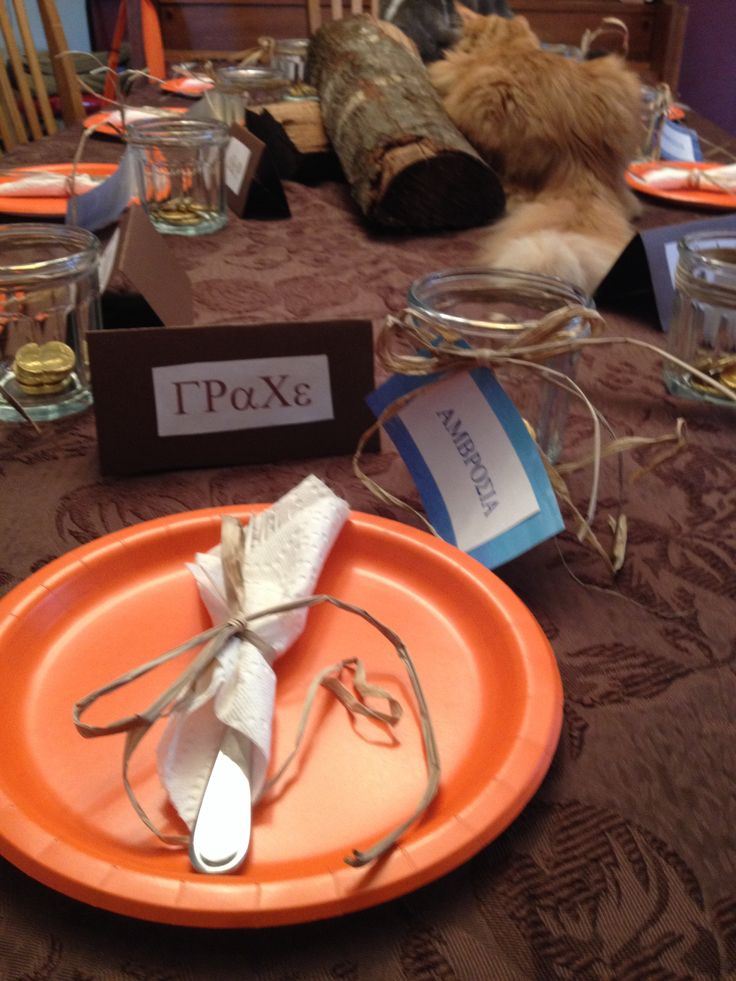 Percy Jackson party...wrote guests names in Greek...built campfire as a centerpiece