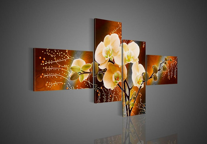 4 Piece Wall Art No Framed Modern Abstract Acrylic Flower Red Orchid Oil Painting On Canvas Picture By For Home Decor