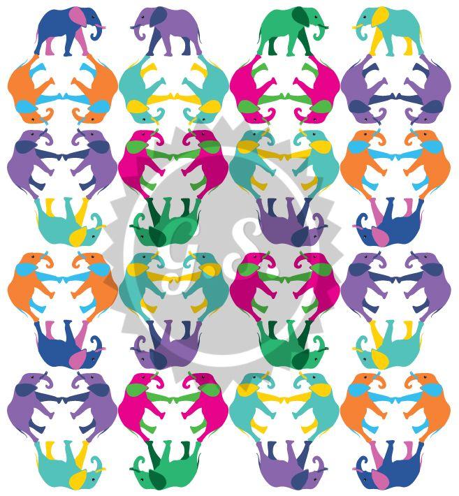 Pop Elephants Pattern giannissofianakos.tumblr.com #elephants #graphic_design #pop #pattern