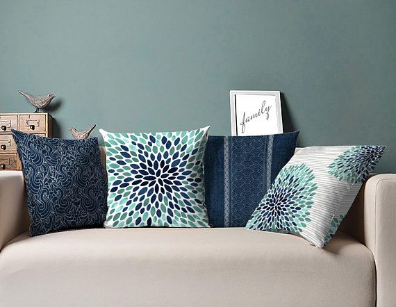 Navy And Teal Pillow Navy Teal Pillow Blue Teal Pillows White