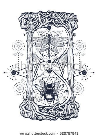 Bee and dragonfly in the hourglass mystical tattoo. Hand drawn mystical symbols and insects. Dragonfly and bee tattoo sketch. Alchemy, religion, occultism hourglass tattoo art, coloring books