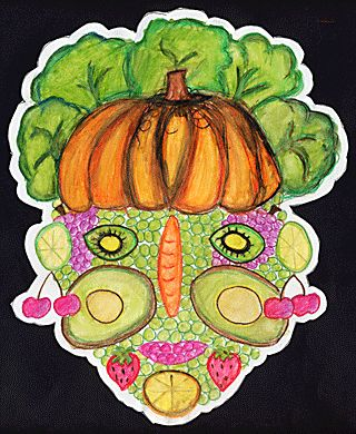 Vegetable face drawings