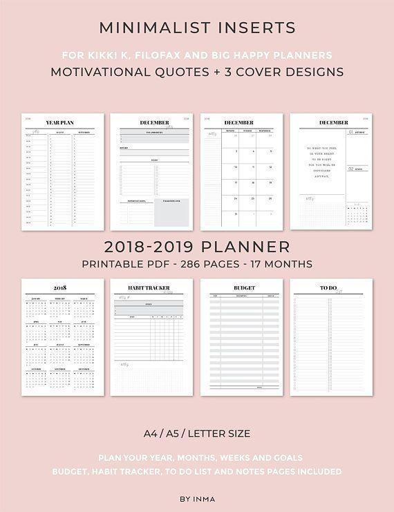2019 2020 Planner Printable Minimalist Planner Monthly Planner