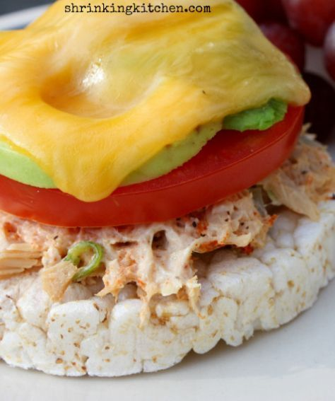 Tuna melt on a rice cake. A super simple recipe that's healthy and delicious!