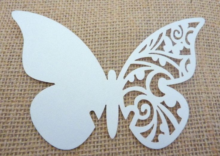Laser Cut Butterfly Glass Place Cards White Pearlescent Card Wedding Table Party