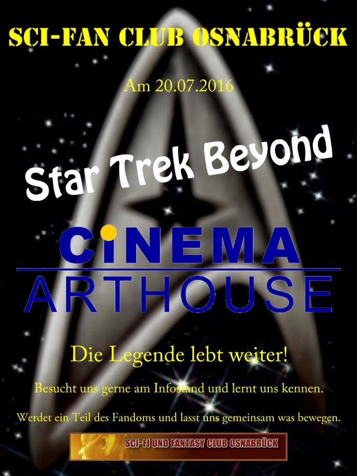 Der SciFi und Fantasy Club Osnabrück, freut sich auf die Premiere von Star Trek Beyond.  Unser Club wird mit einem Infostand vor Ort sein und freut sich auf euch! Der SciFi und Fantasy Club Osnabrück, freut sich auf die Premiere von Star Trek Beyond.  Unser Club wird mit einem Infostand vor Ort sein und freut sich auf euch! #SciFanOs #StarTrekBeyond #CinemaArthouse