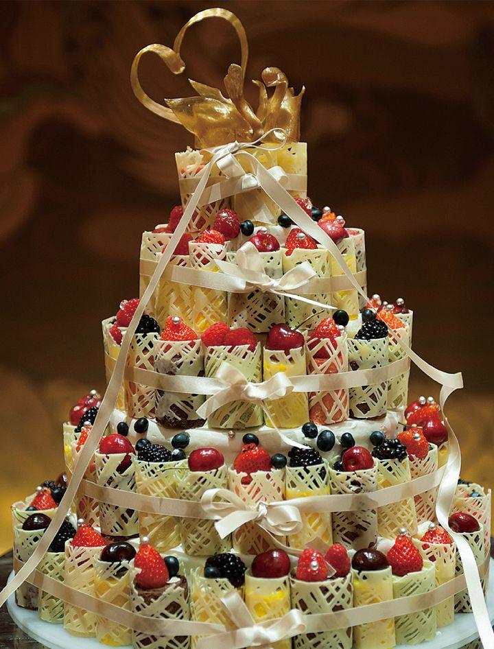 アメ細工の白鳥をトップに飾ったロールケーキタワー