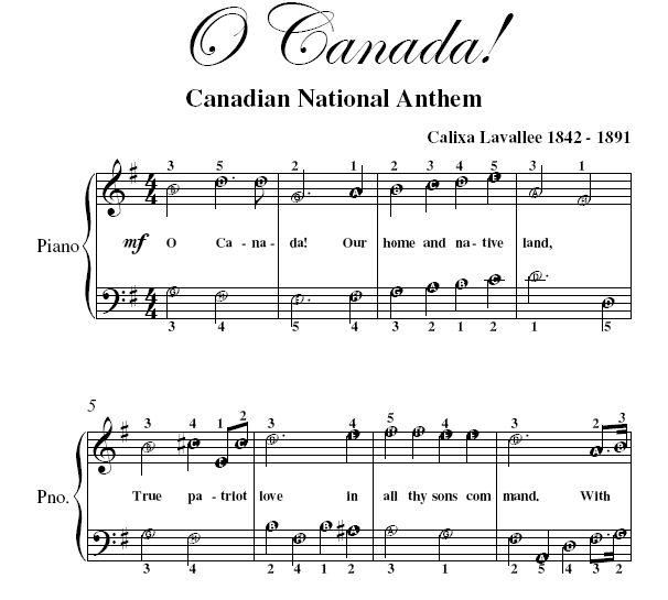 Easy Piano Sheet Music With: O Canada Easy Piano Printable Sheet Music PDF - 1