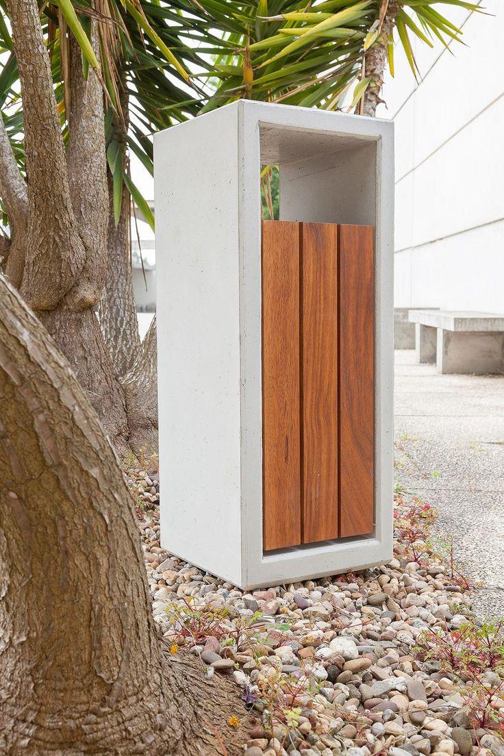 Public trash can / wooden / concrete / contemporary - OUTLINE : 532.CXMD by Gonçalo Silva - SIT URBAN DESIGN
