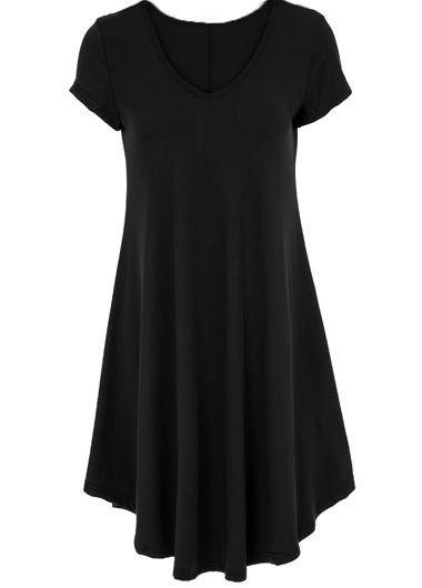 Black Short Sleeve V Neck Swing Tunic T Shirt Dress