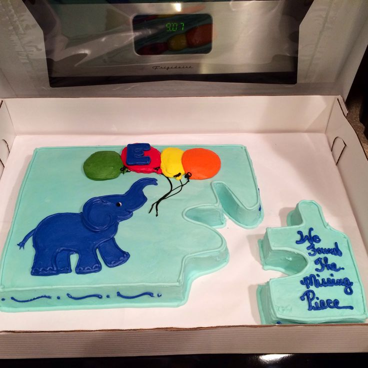 "adoption day cake! ""we found the missing piece.""  would want it to say ""He (or God) sent us the missing piece."""