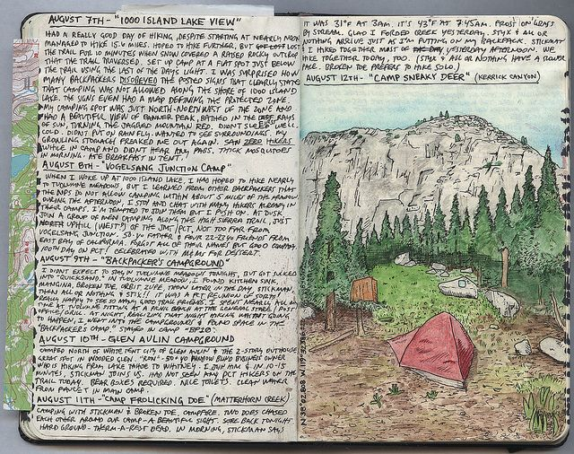 Simply love this guy's journaling style. Wish I were as talented with ink and pencil....