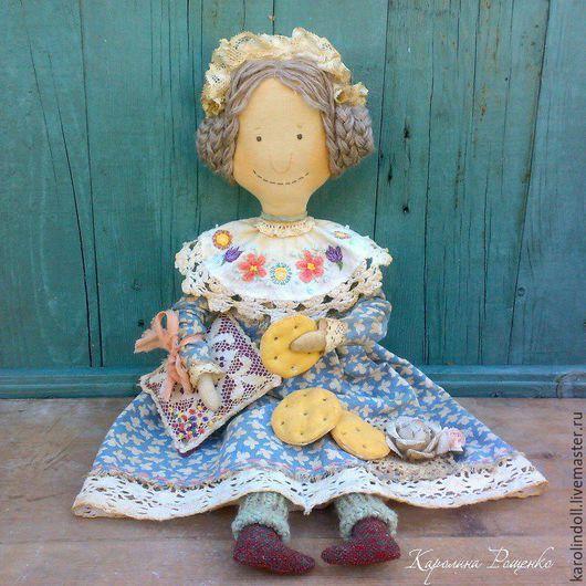 Коллекционные куклы ручной работы. Печеньки перед сном. Каролина Рощенко (karolindoll). Ярмарка Мастеров. Для спальни, подушка, чепец