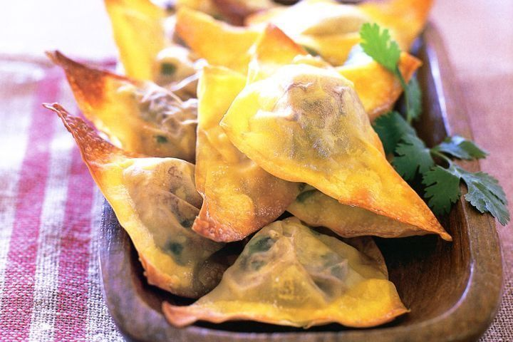 Fried Cheesy Hatch Green Chile Avocado Wontons • Recipe