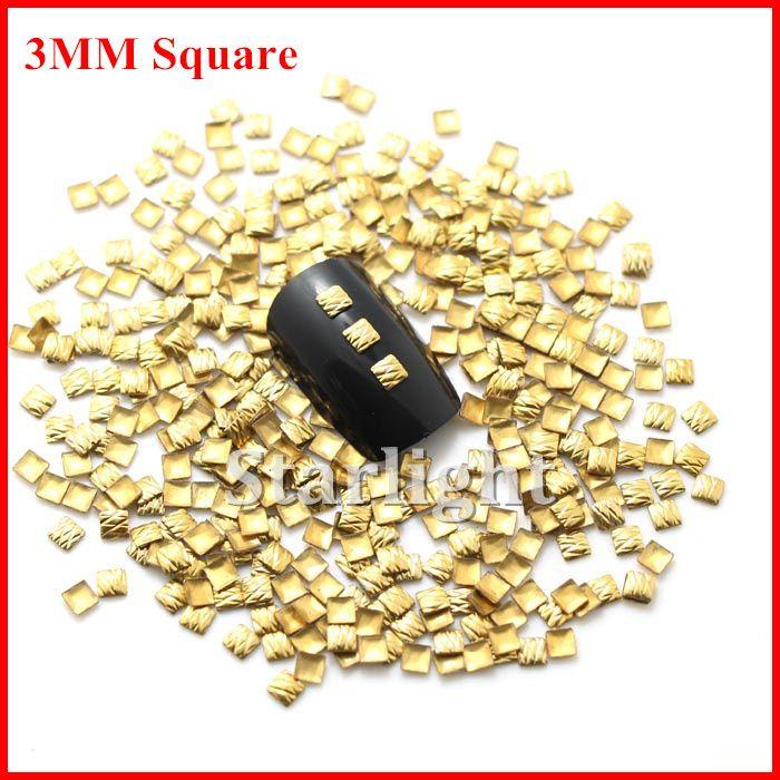 Бесплатная доставка nail art 3 мм Квадратные Линии ДК Золотой corlor 1000 шт./лот хрустальные камни для украшения