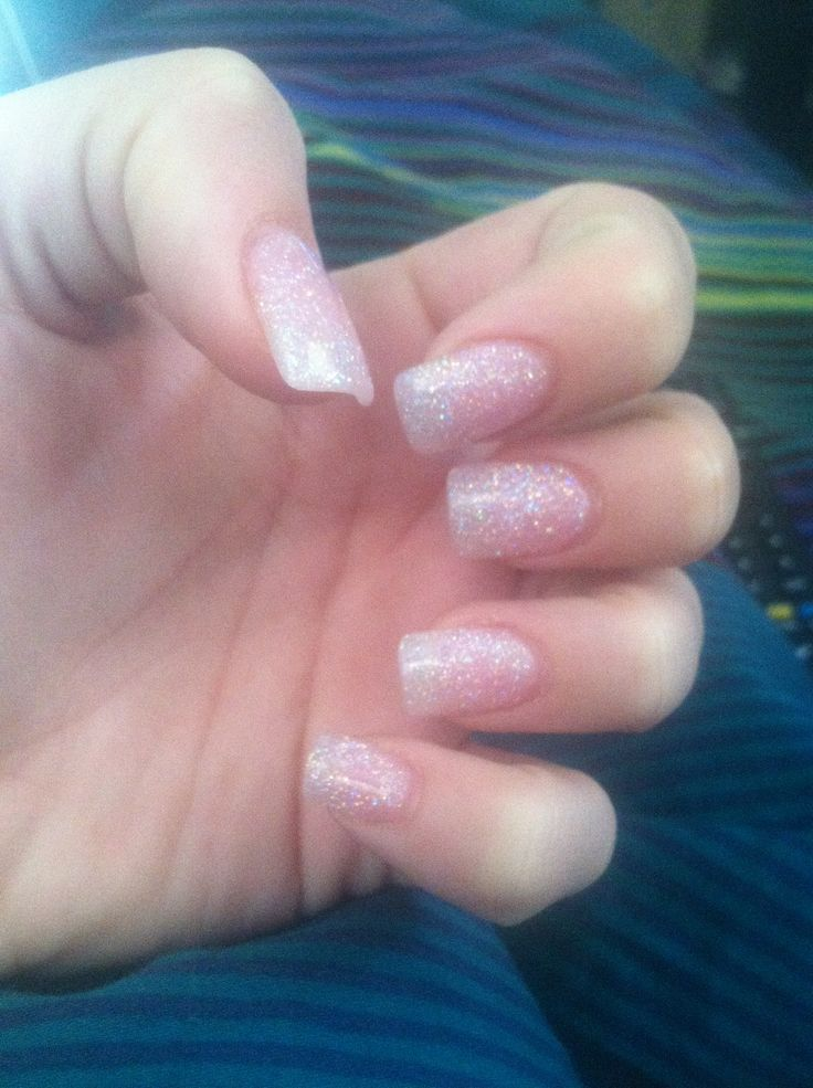 Soft pink glitter solar nails
