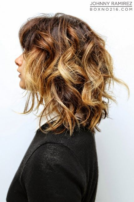 short wavy ombre bangs -- dark brown base with contrasted blonde highlights pieced throughout.