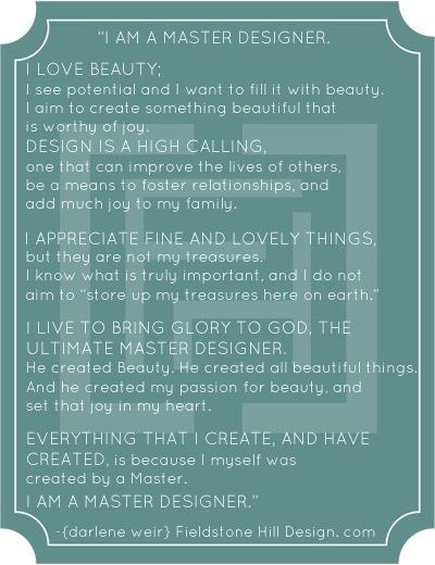 The Master Designer Manifesto from FieldstoneHillDesign.com | Are you a Master Designer?