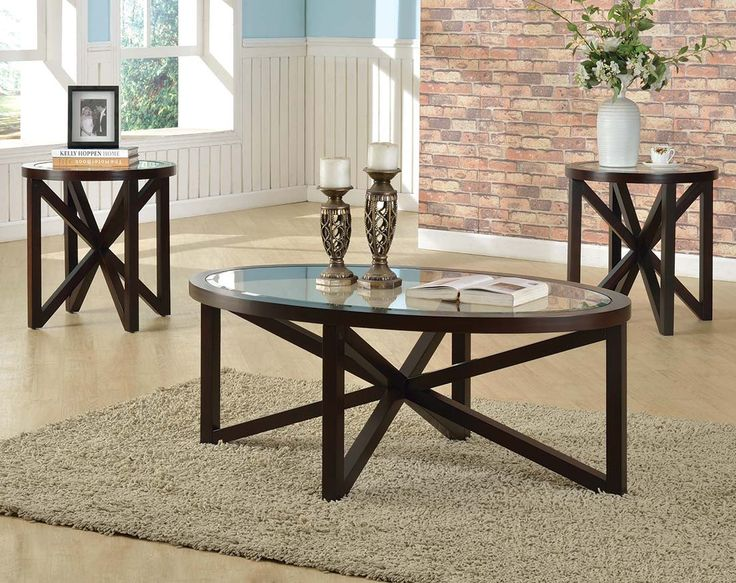 Espresso Finish, Glass, Coffee And End Tables   Cole 3 Piece Table Set  