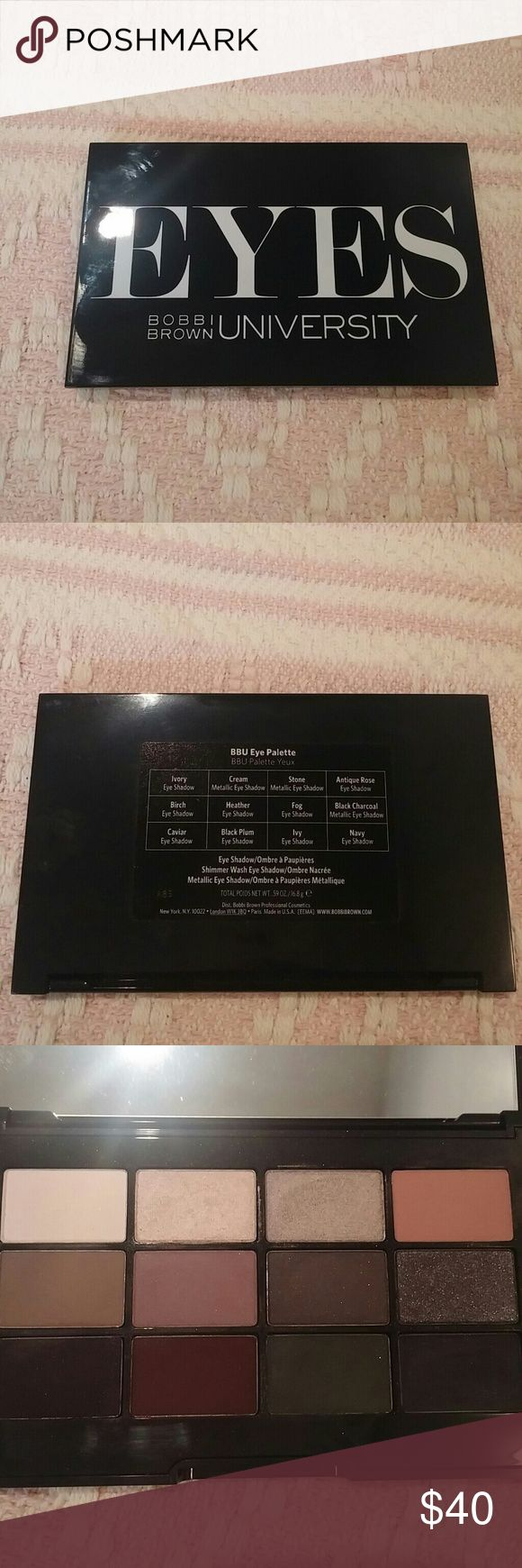 Bobbi Brown University Eyes palette 12 Shadow palette by Bobbi Brown. This was a holiday launch from 2 seasons ago. Mix of matte, satin, and one glitter shade. Great quality. Bobbi Brown Makeup Eyeshadow