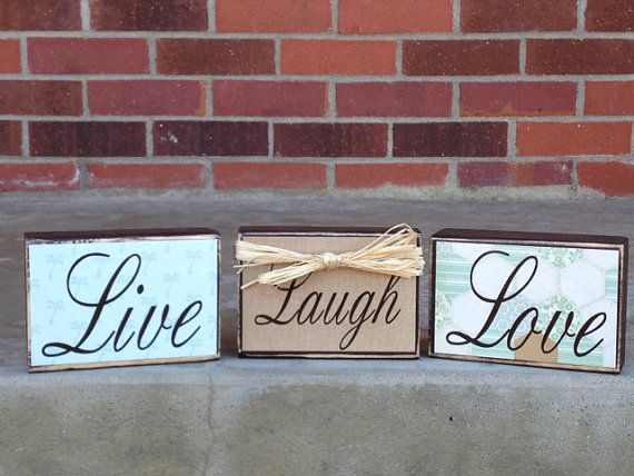 Live Laugh Love Individual Wood Block Set Home Decor Wedding Gift Primitive Decorations Colors