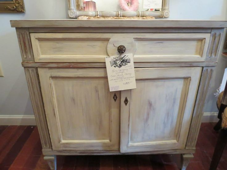 Vintage solid Cherry Cedar Lined Cabinet refinished in Annie Sloan Chalk Paints Paris Gray and Old White with light and dark waxed finish, available at  https://www.facebook.com/LaBelleBrocanteShop