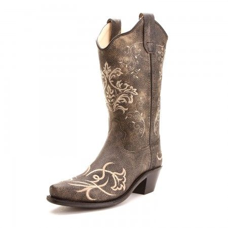 Old West Kids Girl Embroidered Snip Toe Cowboy Boots Brown
