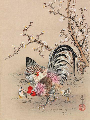 『梅樹神鶏図』-木版画-伊藤若冲
