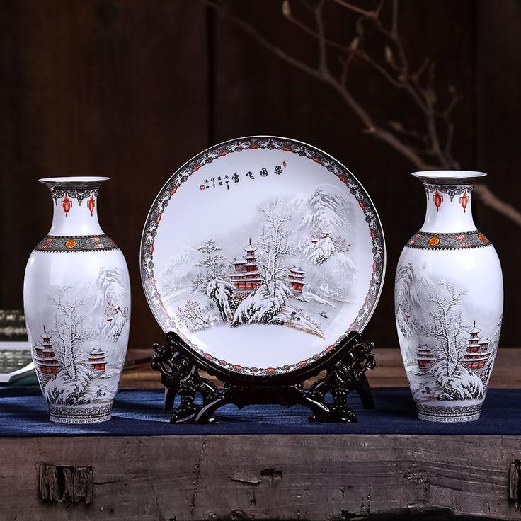 >> Click to Buy << Jingdezhen modern Chinese porcelain vase three piece ceramic flower Home Furnishing decoration living room decoration #Affiliate
