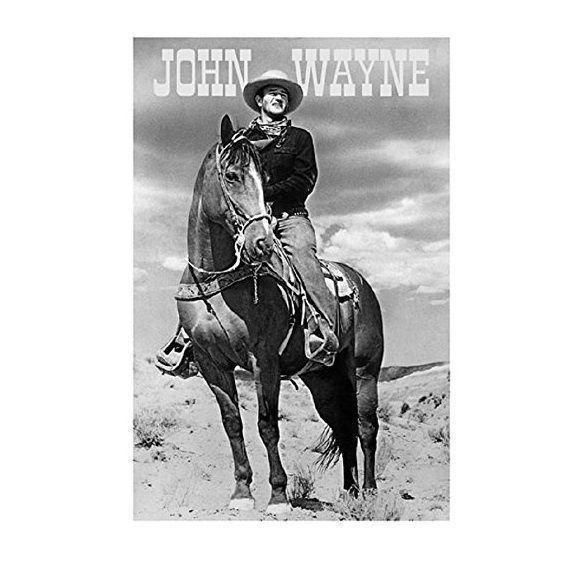 NEW - John Wayne The Duke on Horse B&W Western Movie Art Poster Print 24 x 36