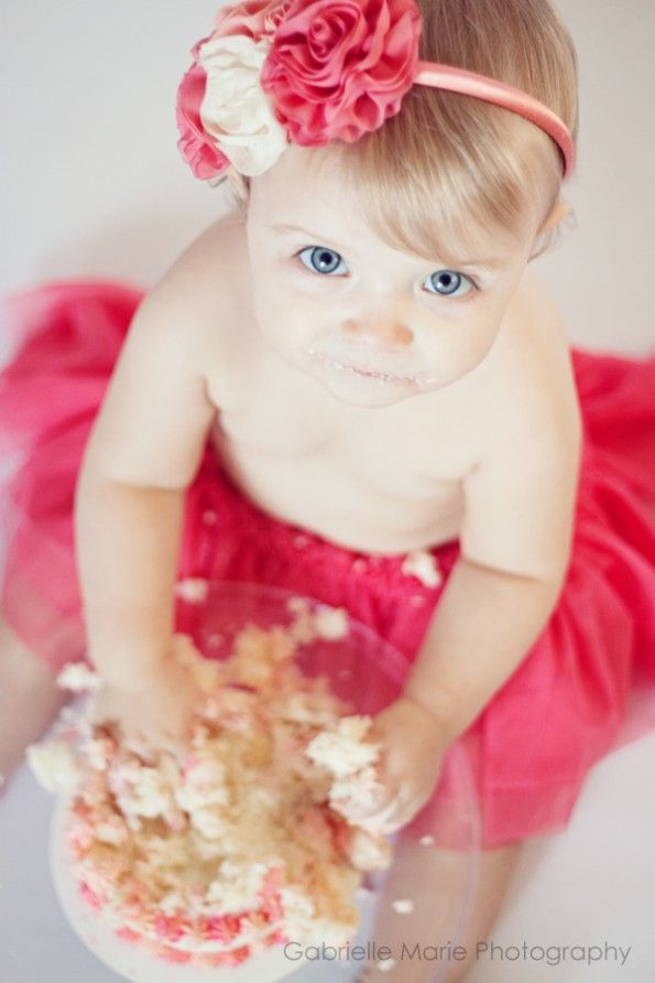 Cute clothing for a Cake Smash! The tutu and headband are cute enough that they make an impact, but also don't overwhelm baby's features or the smashed up cake... You have to notice the smashed up cake in a Cake Smash!