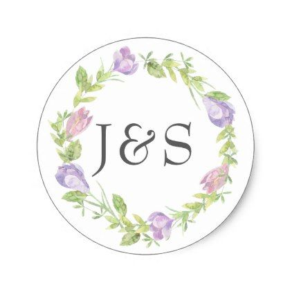Purple floral leafy wedding personalized stickers - sticker stickers custom unique cool diy