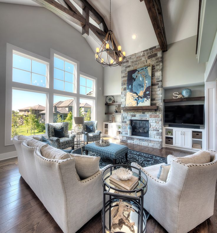 Living Room, Stone Fireplace, Floor to Ceiling Fireplace, Wooden Beams, Two Story Great Room, Coastal Home