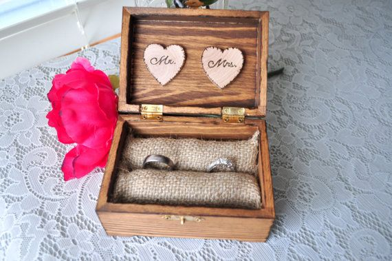 Personalized Engraved Woodburned Rustic Woodland Wooden Wedding Ring Box With This Ring, Ring Bearer Burlap Pillow Wood Hearts Mr. Mrs. on Etsy, £14.98