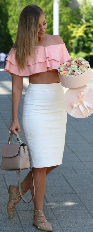 Peach Ruffles // Fashion Look by Style And Blog