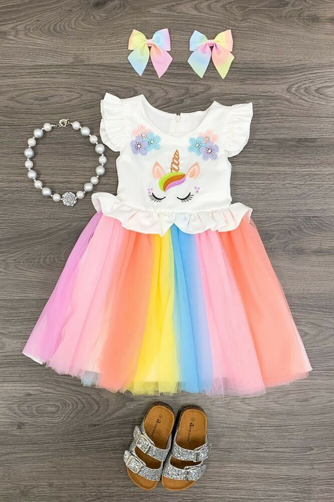 da0577eb9d778 USA Girls Dress Toddler Rainbow Unicorn Tutu Dress 2 3 4 5 6 7 8  Tutu   CasualParty