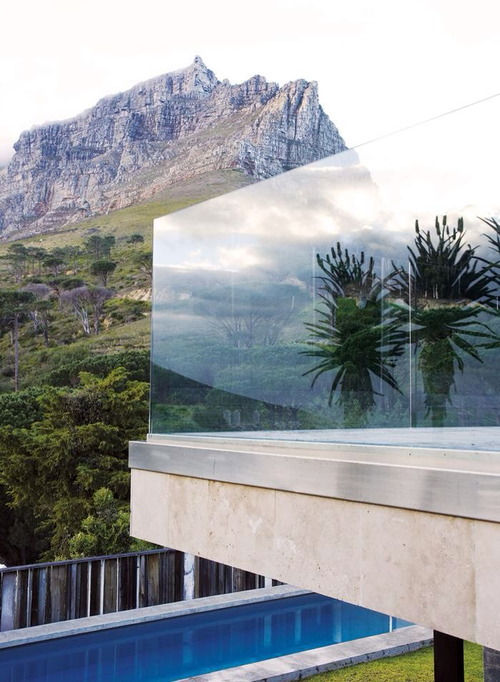 residential modern architecture: glass balcony balustrade design at the home of interior designer boyd ferguson