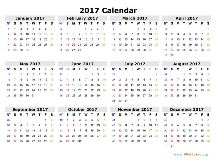 2017 Calendar Template with Holidays