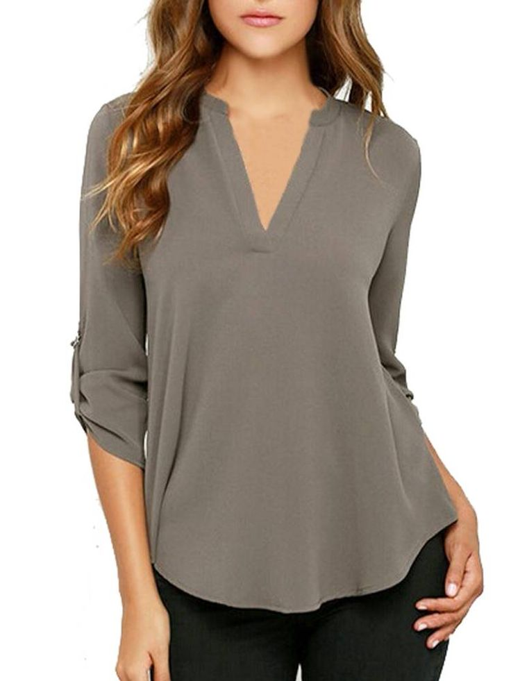 Chiffon Solid Long Sleeve V-Neck Loose Casual Blouse For Women Online - NewChic