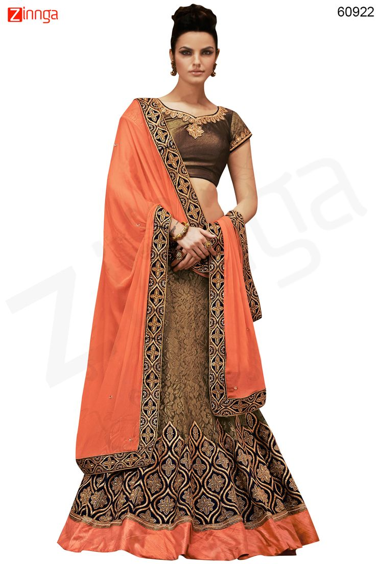 Women's Pretty A Line Lehenga Style in Brown Color Message/call/WhatsApp at +91-9246261661