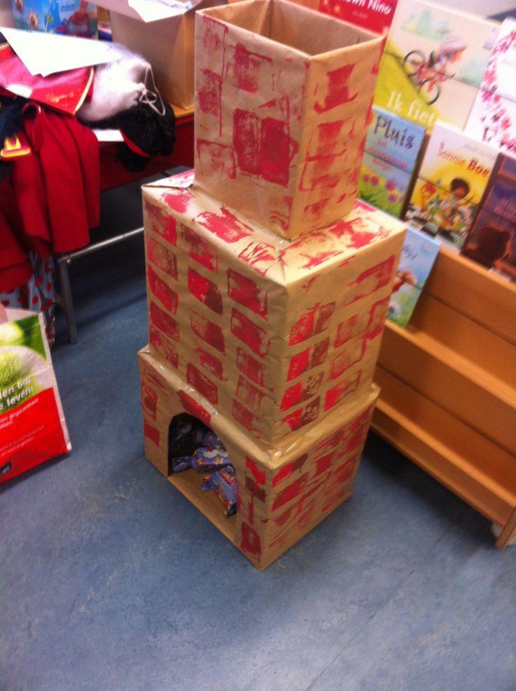 Schoorsteen bestempelen en pakjes inpakken