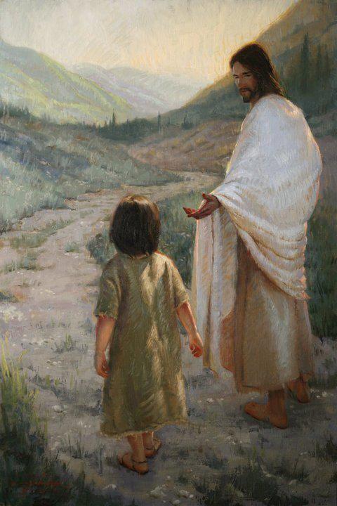 Jesus leading a child | pinturas | Pinterest | Jesus ...