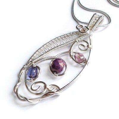wire weaved marquis pendant purple