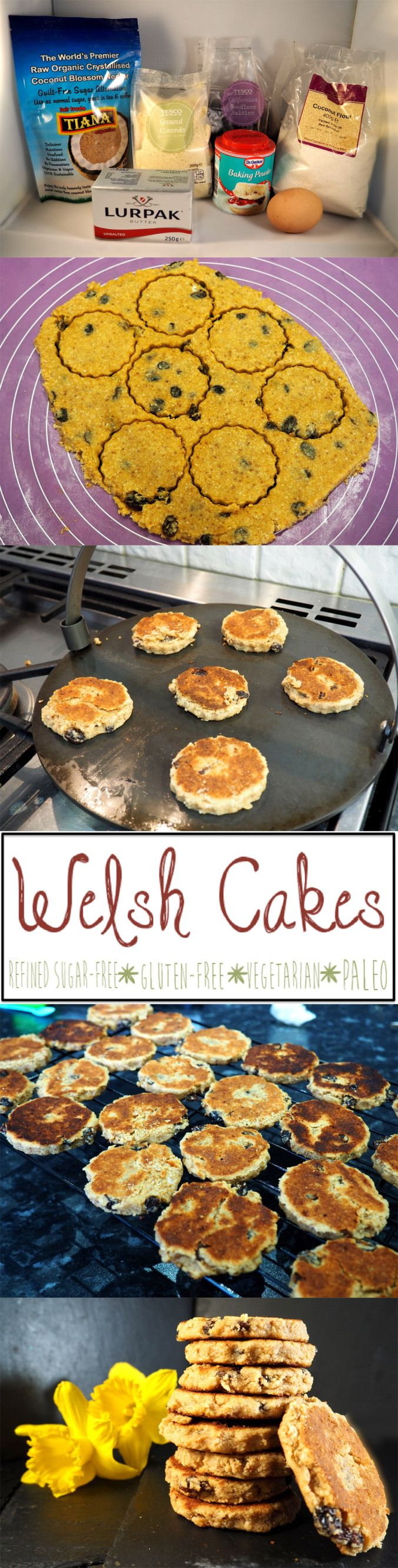 Welsh Cakes (Pice ar y Maen)! Traditional and delicious welsh cakes. Paleo, refined sugar-free, gluten-free, vegetarian and grain-free! Happy St Davids Day!
