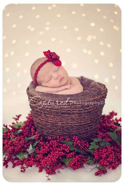 Newborn Christmas picture inspiration (love the lights and color scheme)