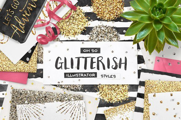 SALE! 100 Glitter AI Styles + EXTRAS by Pink Coffie on @creativemarket